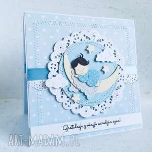 ręczne wykonanie scrapbooking kartki gratulacje z okazji narodzin chłopca bobas na księżycu