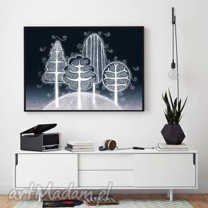 grafika drzewa a2, drzewa, plakat dom