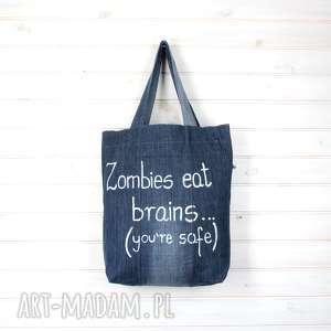 hand made pomysł na prezent torba dżinsowa zombie
