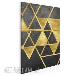 obraz na płótnie - trójkąty geometryczny złoto w pionie 50x70 cm 64103
