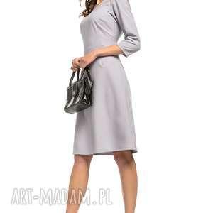 5fca2a96675416 199,00 zł taliowana sukienka z tkaniny rękawem 3/4, t265, szary, wyjątkowo,  elegancka