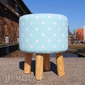 Pufa Miętowe Grochy - 36 cm, pufa, ryczka, stołek, taboret, siedzisko