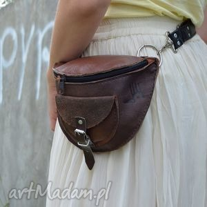 skÓrzana nerka odcienie brązu - waist, leather, skóra, zamsz, suede