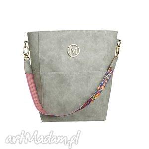 handmade torebki manzana duży kuferek zamszowy etno styl szary