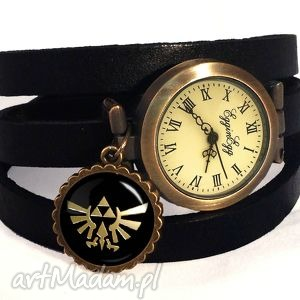 zelda hyrule - zegarek bransoletka na skórzanym pasku, zelda, hyrule