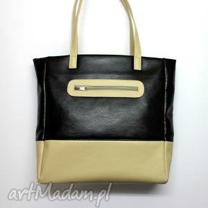 na święta prezenty Shopper Bag - czarny i beż, elegancka, nowoczesna, prezent,