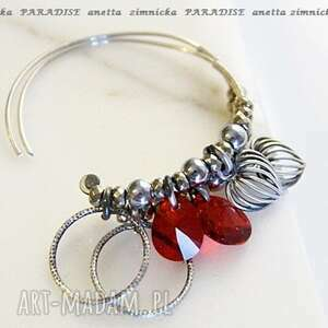 srebro kolczyki, swarovski red w srebrze, swarovski, serce, koła