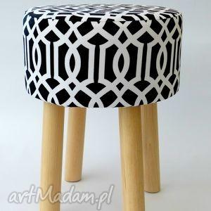 Stołek Fjerne M ( czarny trellis), stołek, meble, krzesło, puf, homedecor