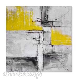 abstrakcja popiel i żółć, nowoczesny obraz ręcznie malowany - obraz