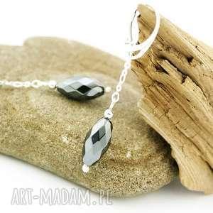 unikalny prezent, kolczyki hematyt w srebrze, kolczyki, hematyt, srebro, wiszące