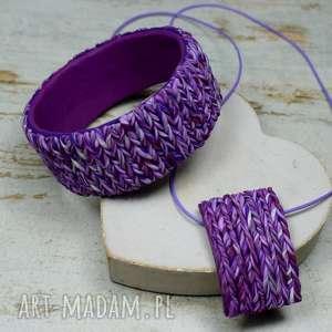 Prezent wełniany komplet biżuterii w odcieniach fioletu, wełniana-biżuteria