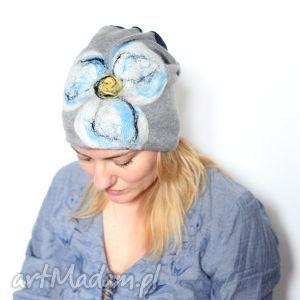 czapka handmade wełnianafilcowana wełną merynosów - wełna, merynosy