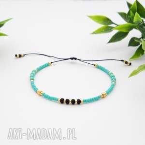 bransoletka koralikowa minimal - turquoise, bransoletki, koralikowe, modna