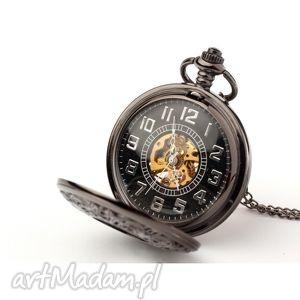 handmade zegarki ażur iv (dark) black dial