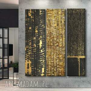 deluxe tryptych - wielkoformatowy obraz na płótnie abstrakcyjny art, złoty