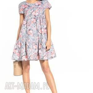 sukienka mini z dwoma falbanami i krótkim rękawem, t343, róże na szarym tle