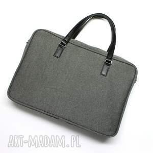 hand-made pomysł na prezent święta torba laptop - szara i rączki