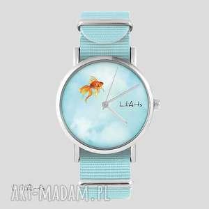 zegarek, bransoletka - złota rybka niebieski, nato, bransoletka, nato