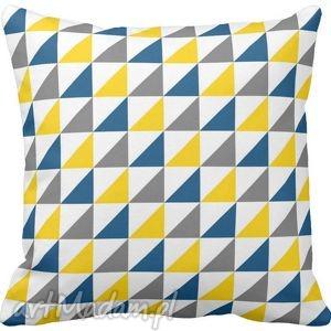 ręcznie robione poduszki poduszka ozdobna trójkąty żółte niebieskie szare
