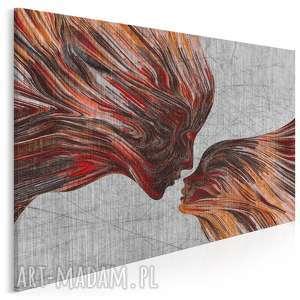 obraz na płótnie - twarze pocałunek czerwony 120x80 cm 13505