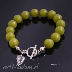 monle zielono mi bransoletka z jadeitów - biżuteria, srebro