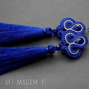 kobaltowe klipsy sutasz z chwostami, sznurek, eleganckie, wiszące, granatowe