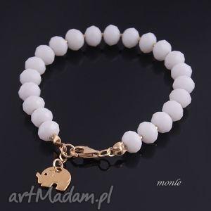 złoty słonik biała bransoletka - biżuteria, pozłacane