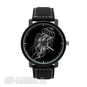 zegarek męski z grafiką meduza, głębiny, ocean, stwór, homemade, oryginalny