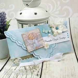 handmade scrapbooking kartki pamiątka chrztu św. dla chłopca