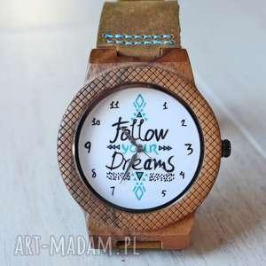 Drewniany zegarek FOLLOW YOUR DREAMS EAGLE, drewniany, lekki, skóra, unikatowy