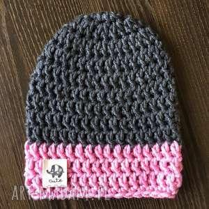 rĘcznie robiona czapka grafit i jasny rÓŻ 1 hand made - czapka, czapki
