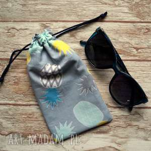 etui / bawełniany woreczek na okulary, słoneczne, ananasy, prezent