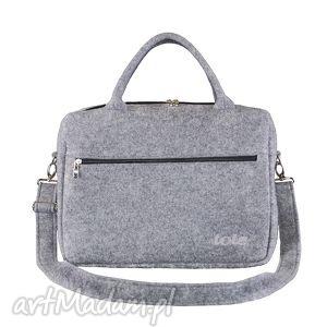 macfelt 13 - torba na laptop, szara, filc, filcowa, na, laptopa, haft, logo