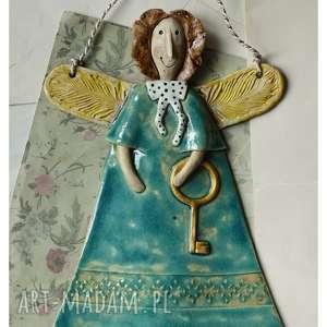 ceramika aniołek z kluczem ii, ceramika, anioł, klucz