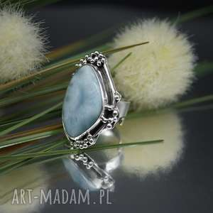 Ocean blue - pierścionek z larimarem, pierścionek, larimar, srebro, regulowany, duży,