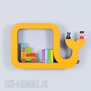 Półka na książki zabawki WIELORYB ecoono | żółty, półka, chłopiec, dziewczynka