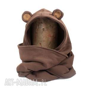 pod choinkę prezent, komin z kapturem - misiek, miś, niedźwiedź, uszy