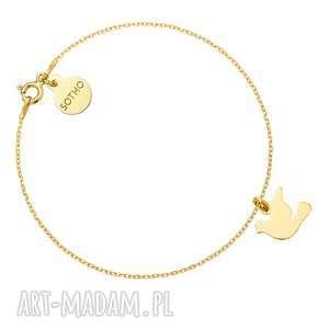 złota bransoletka z gołębiem - żółte, gołąb