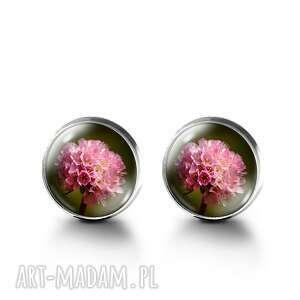 kolczyki sztyfty - różowy kwiat, kolczyki, sztyfty, szkło, kwiaty, grafika