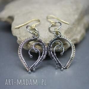 kolczyki wire wrapping lethias, srebrne, długie, wrapping, srebro