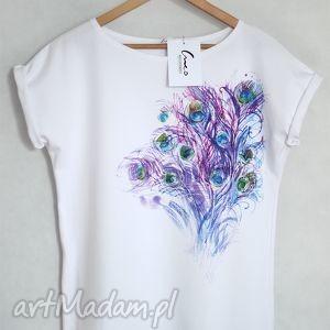 PAWIE PIÓRA koszulka bawełniana biała S/M, koszulka, tshirt, bawełna, nadruk, pawie