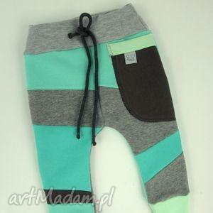 handmade patch pants - eco dresik dziecięcy miętowy