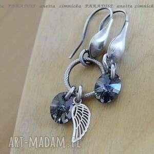 srebro kolczyki kryształowa asymetria, swarovski, ogniwo, srebro, skrzydełko
