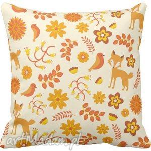 Poszewka na poduszkę dziecięca w liski i ptaszki 3027, poduszka, poszewka, liski,