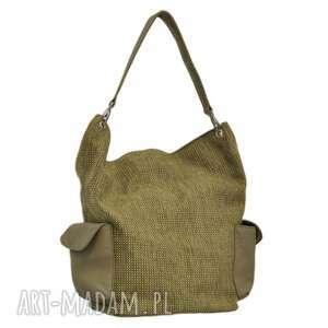 na ramię 17-0013 zielona torba damska worek / torebka studia stork, makowe