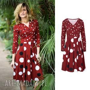 Kopertowa sukienka rozkloszowana | ATENCJA kropy , dzianina, bawełna