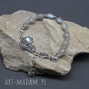 handmade srebrna bransoletka z labradorytami shine