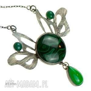 Prezent a590 Malachitowe westchnienie lotosu naszyjnik srebrny , naszyjnik-srebrny