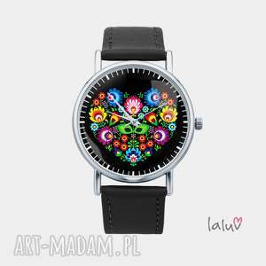 zegarek z grafiką slavic love - folk, folklor, polski, ludowe, łowickie, wycinanki