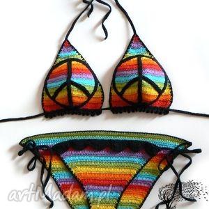 bielizna bikini z pacyfką, bikini, plaża, tęczowy, pacyfka, szydełkowy, szydełkowe